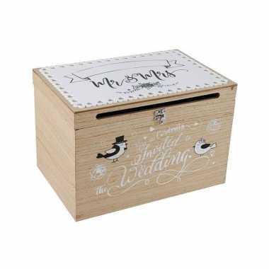 1x houten huwelijksdoosje/bruiloft enveloppen doos 30 x 20 x 20 cm
