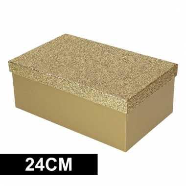 Kado verpakking goud glitters 24 cm
