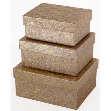 Kado verpakking goud ruiten 19 cm