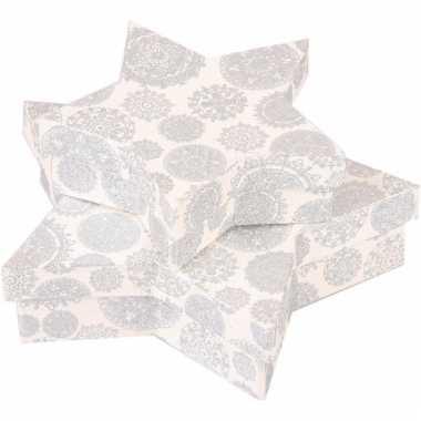 Kado verpakking stervorm wit 18 cm
