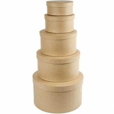 Ronde bruine hobby opslag doos/dozen 34.5 cm