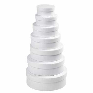 Ronde witte hobby opslag doos/dozen 12,5 cm